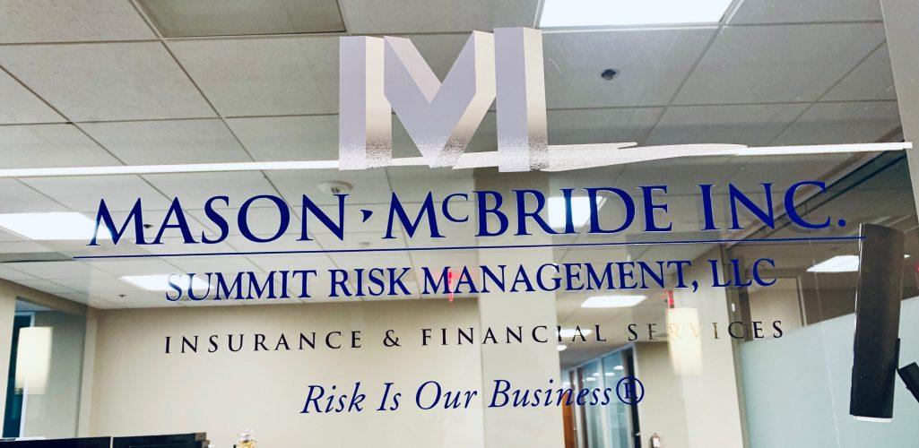 Photo of Mason-McBride decal on office window --Mason McBride Inc 3155 W Big Beaver rd