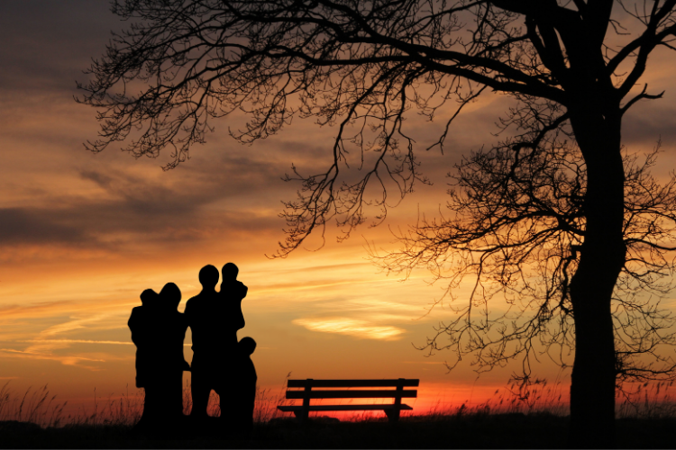 Family in park, watching a sunset