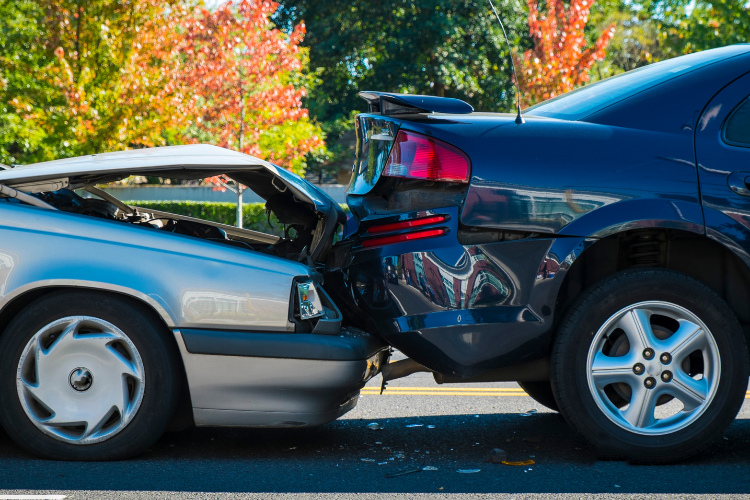 Photo of twop cars involved in an auto accident.