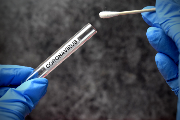 a swab being inserted into a test tube for coronavirus