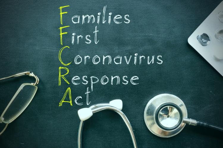 chalkboard with families first coronavirus response act written