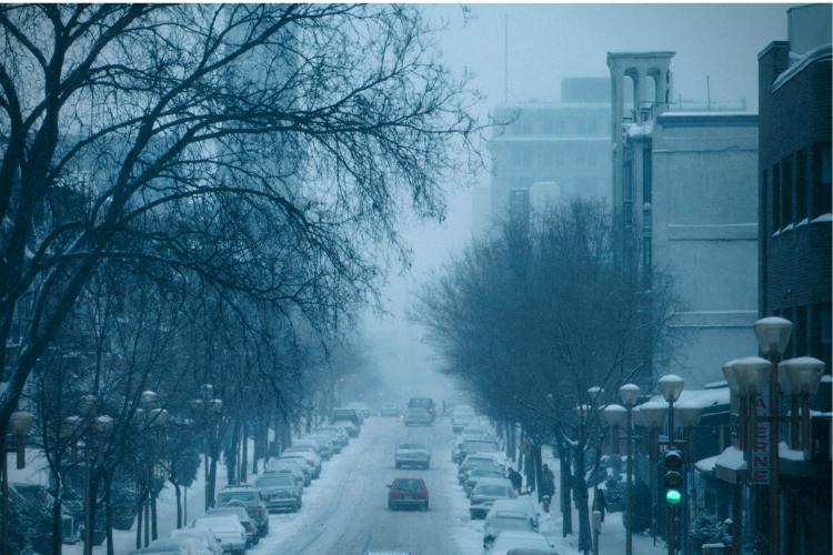 Photo of winter city street